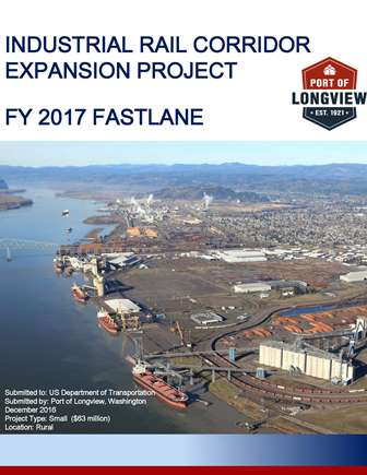 Fastlane Grant Application cover page with aerial view of the port